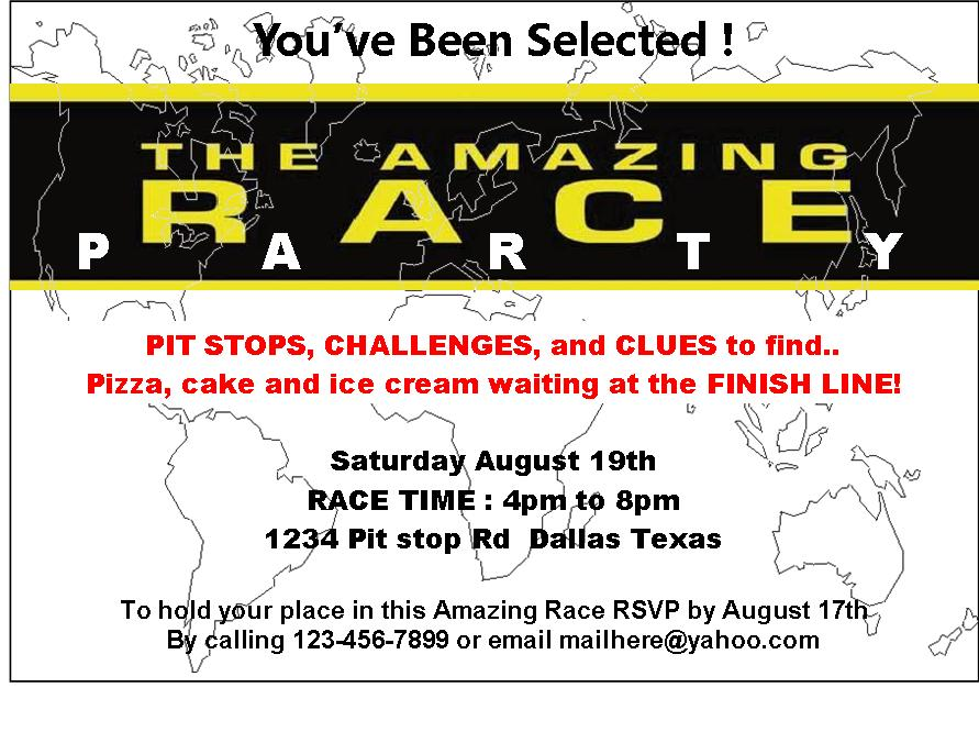 amazing race birthday party templates - amazing race printables review concert katie